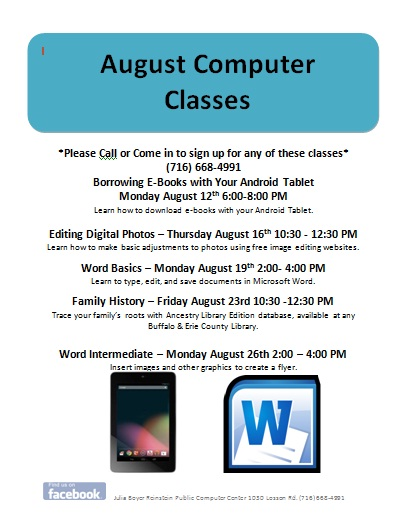 New August Computer Classes!